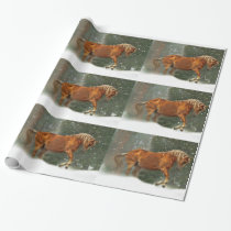 Horse and Snow Christmas Wrapping Paper