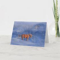 Horse and Snow Holiday Magic Card