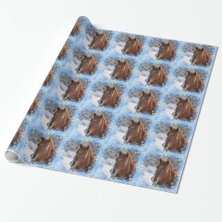 Horse and snowflakes gift wrap paper