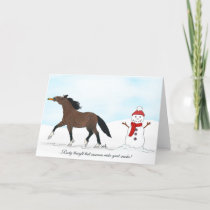 Horse and Snowman Festive Holiday Card