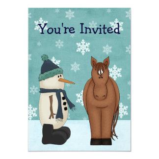 Horse and Snowman Winter Birthday Invitation