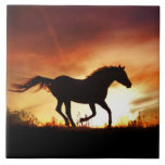 "Horse and Sunset Art Tile<br><div class=""desc"">A beautiful running horse in a southwestern colored sunset art tile. Makes an awesome gift for someone!</div>"