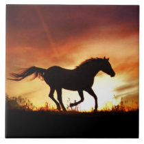 Horse and Sunset Art Tile