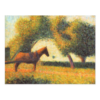 Horse and wagon by Georges Seurat Postcard