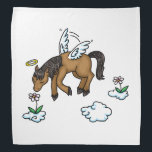 """Horse Angel and flowers Bandana<br><div class=""""desc"""">Featuring a cartoon horse with angel wings and a halo flying in the sky and sniffing flowers on little clouds.  Illustrations by Jojo Kneebone Aka MuffinPuffART!</div>"""