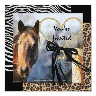 Horse & Animal Print Wedding Invitation