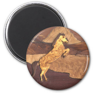 Horse Art 3D Wood Work Wild Animal Mustang Magnets