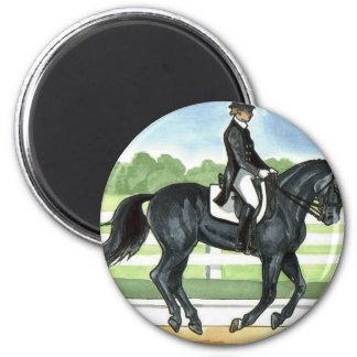 Horse Art BLACK dressage Canter 2 Inch Round Magnet