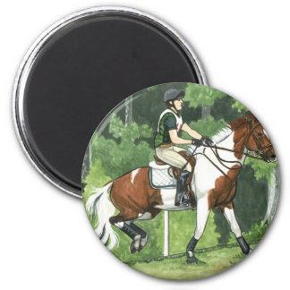 HORSE ART Cross-Country Up the Steps Eventing 2 Inch Round Magnet
