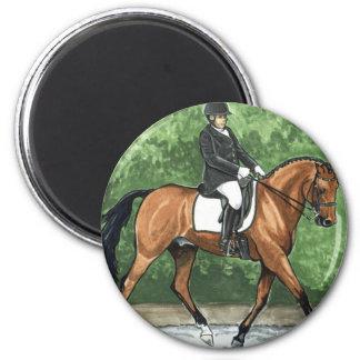 Horse Art Dressage Horse Bay Trotting 2 Inch Round Magnet