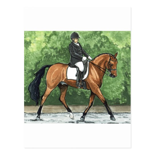 Horse Art Dressage Horse Bay Trotting Postcard