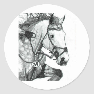 Horse Art EXTREME EVENTING Classic Round Sticker