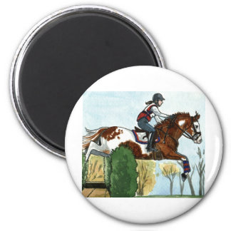 Horse Art Flying Paint Horse XC 2 Inch Round Magnet