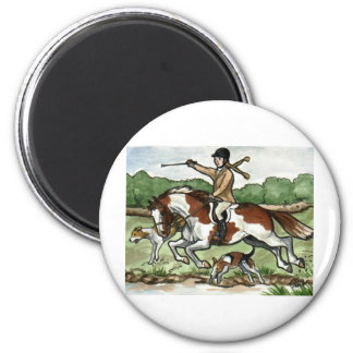 Horse Art Foxhunt girl on Paint Pony 2 Inch Round Magnet