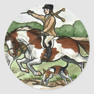 Horse Art Foxhunt girl on Paint Pony Classic Round Sticker
