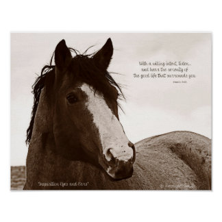 Horse Art Poster With Inspirational Quote 11x14