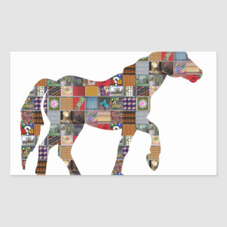 HORSE Artistic Collection Patches FUN NVN477 gifts Rectangular Stickers