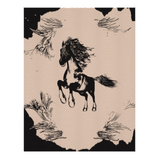 Horse as a pen and ink drawing letterhead