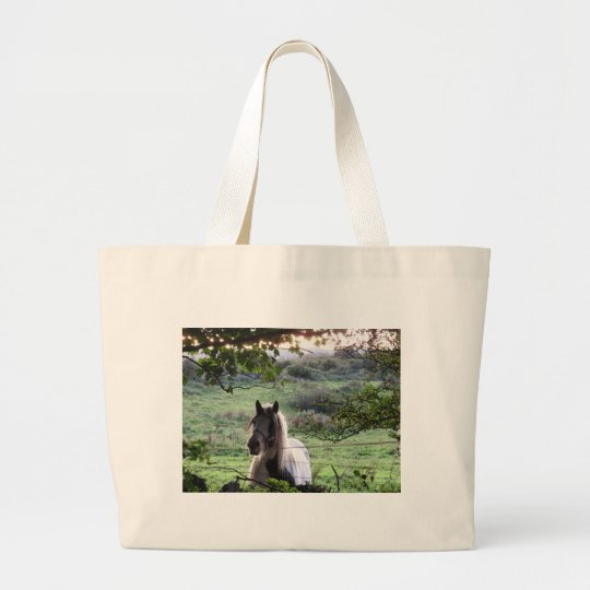 Horse at a fence large tote bag