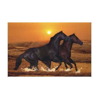 Horse at sunset stretched canvas prints