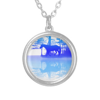 Horse At Twilight Round Pendant Necklace