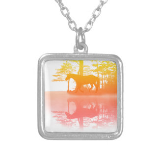 Horse At Twilight Square Pendant Necklace