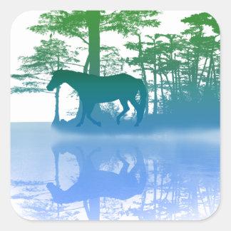 Horse At Twilight Square Sticker