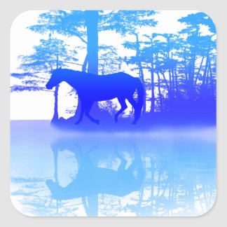 Horse At Twilight Square Sticker
