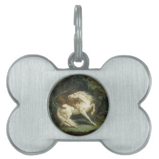 Horse attacked by a lion by Theodore Gericault Pet Name Tag