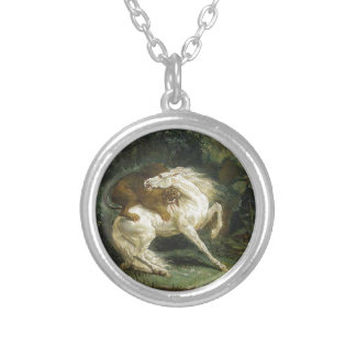 Horse attacked by a lion by Theodore Gericault Round Pendant Necklace