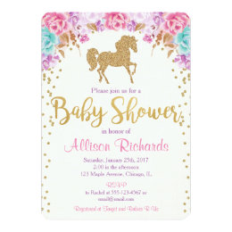 Horse baby shower invitations announcements zazzle horse baby shower invitation pink and gold filmwisefo Gallery