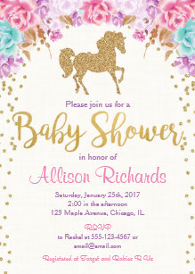 Horse baby shower invitations zazzle horse baby shower invitation pink and gold filmwisefo
