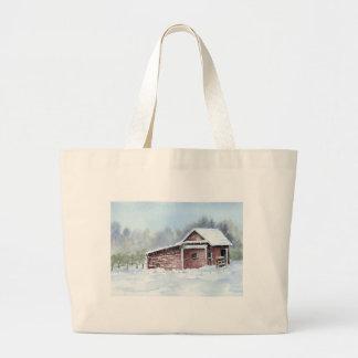 Horse Barn in Snowstorm Bag