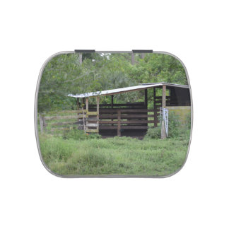 horse barn wooden animal shelter candy tin