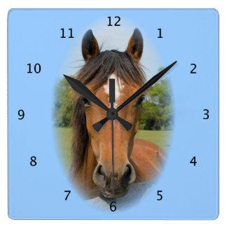 Horse beautiful photo chestnut head portrait square wallclock