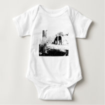 Horse Behind Fencepost in Pen and Ink Baby Bodysuit
