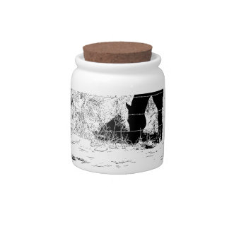 Horse Behind Fencepost in Pen and Ink Candy Jar