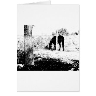 Horse Behind Fencepost in Pen and Ink Greeting Card