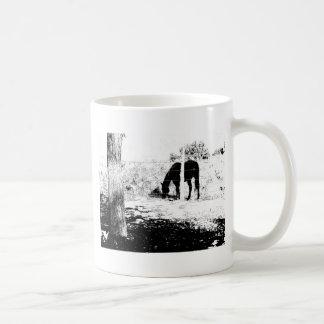 Horse Behind Fencepost in Pen and Ink Coffee Mug