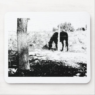 Horse Behind Fencepost in Pen and Ink Mouse Pad