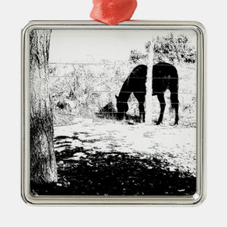 Horse Behind Fencepost in Pen and Ink Square Metal Christmas Ornament