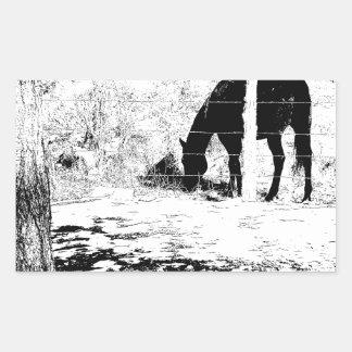 Horse Behind Fencepost in Pen and Ink Rectangular Sticker