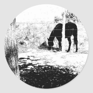 Horse Behind Fencepost in Pen and Ink Classic Round Sticker