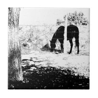 Horse Behind Fencepost in Pen and Ink Small Square Tile