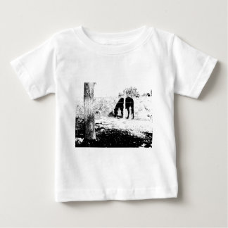 Horse Behind Fencepost in Pen and Ink Tshirts