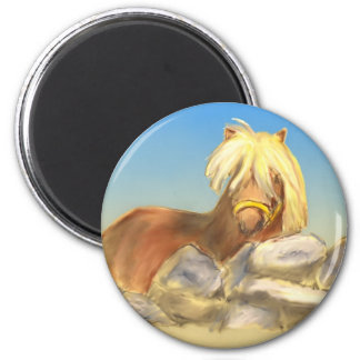 horse behind the stone wall magnet