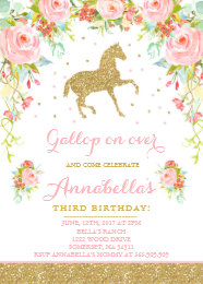 Horse birthday invitations announcements zazzle horse birthday invitation floral pink gold horse filmwisefo Choice Image