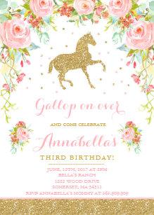 Horse birthday invitations zazzle horse birthday invitation floral pink gold horse filmwisefo