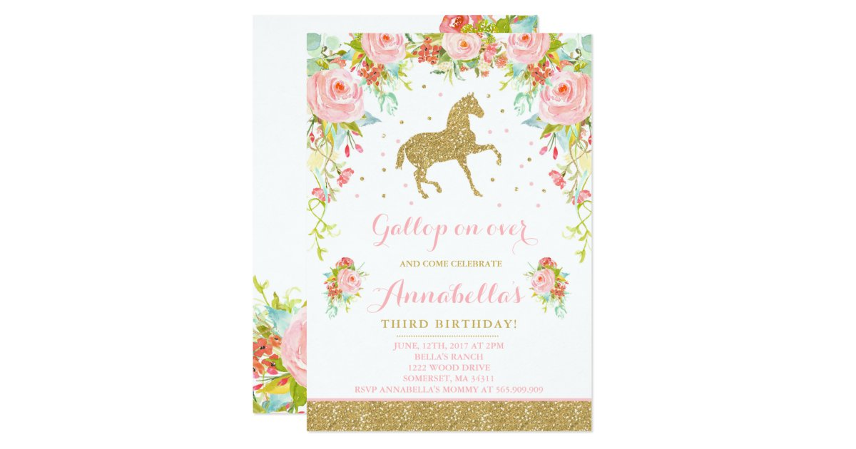 Horse Birthday Invitation Floral Pink Gold Horse | Zazzle.com