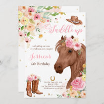 Horse Birthday Party Cowgirl Pink Floral Birthday  Invitation
